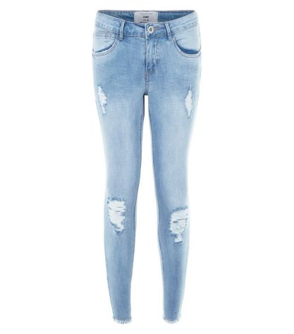 petite-light-blue-ripped-knee-raw-hem-skinny-jeans