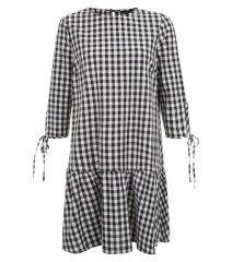 black-gingham-check-drop-hem-smock-dress