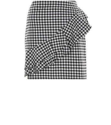 black-gingham-check-frill-trim-skirt-